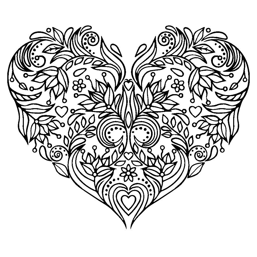 Pin by Angel on Color Pages Hearts Floral