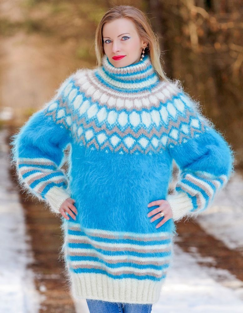 60b8a55894e BLUE IVORY Hand Knitted Mohair Sweater Dress Icelandic Fuzzy Pullover  SUPERTANYA #SuperTanya #TurtleneckMock
