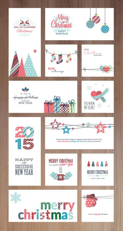 Happy holidays, happy new year and Merry Christmas card series for - new year greeting card template