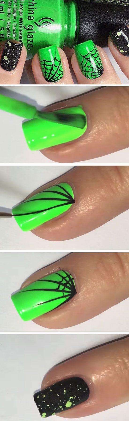 23 Easy Halloween Nail Art Ideas for Teens | Uñas de gato, Arte uñas ...