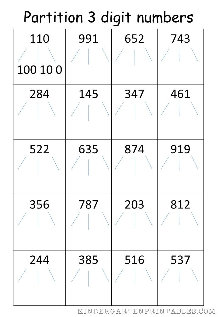 Partition 3 Digit Numbers Worksheet Free Printables Partition 3