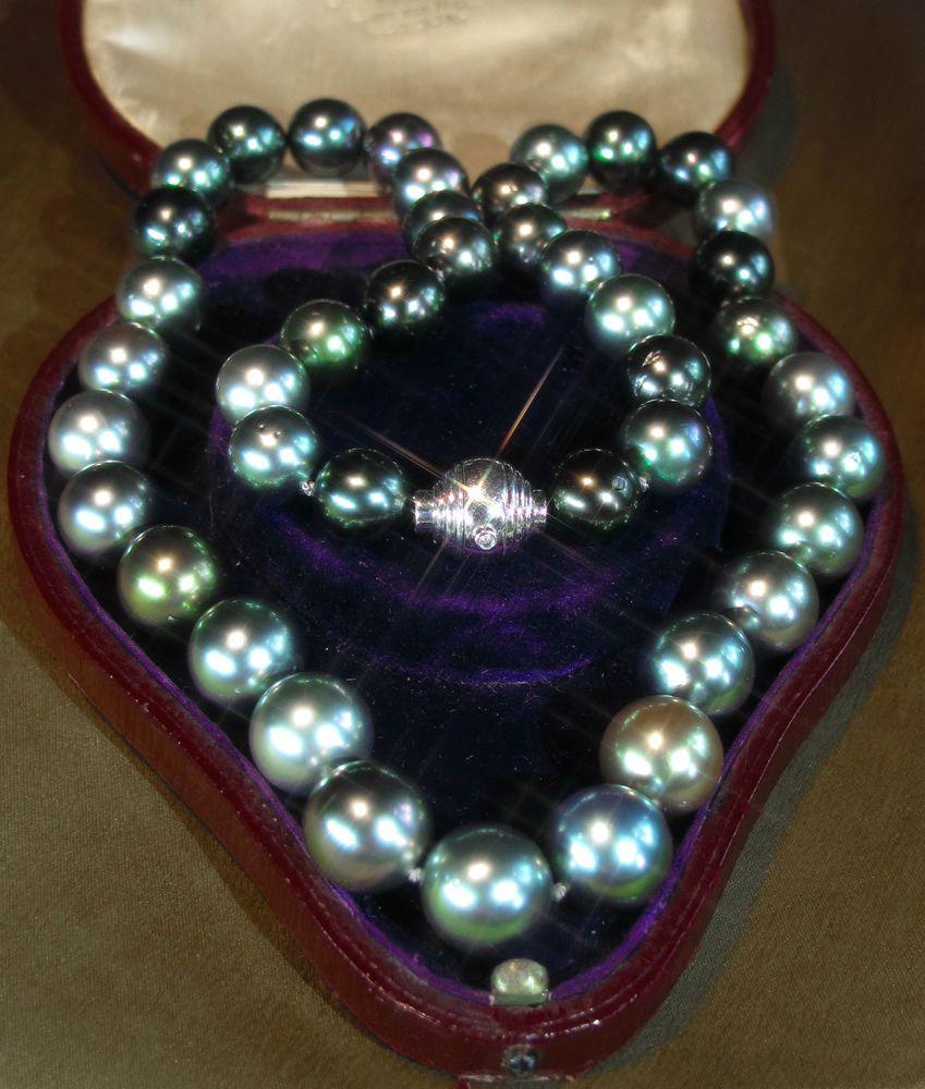 Mikimoto Tahitian Pearl Necklace: Mikimoto 18k Diamond Tahitian Black Pearl Vintage Necklace