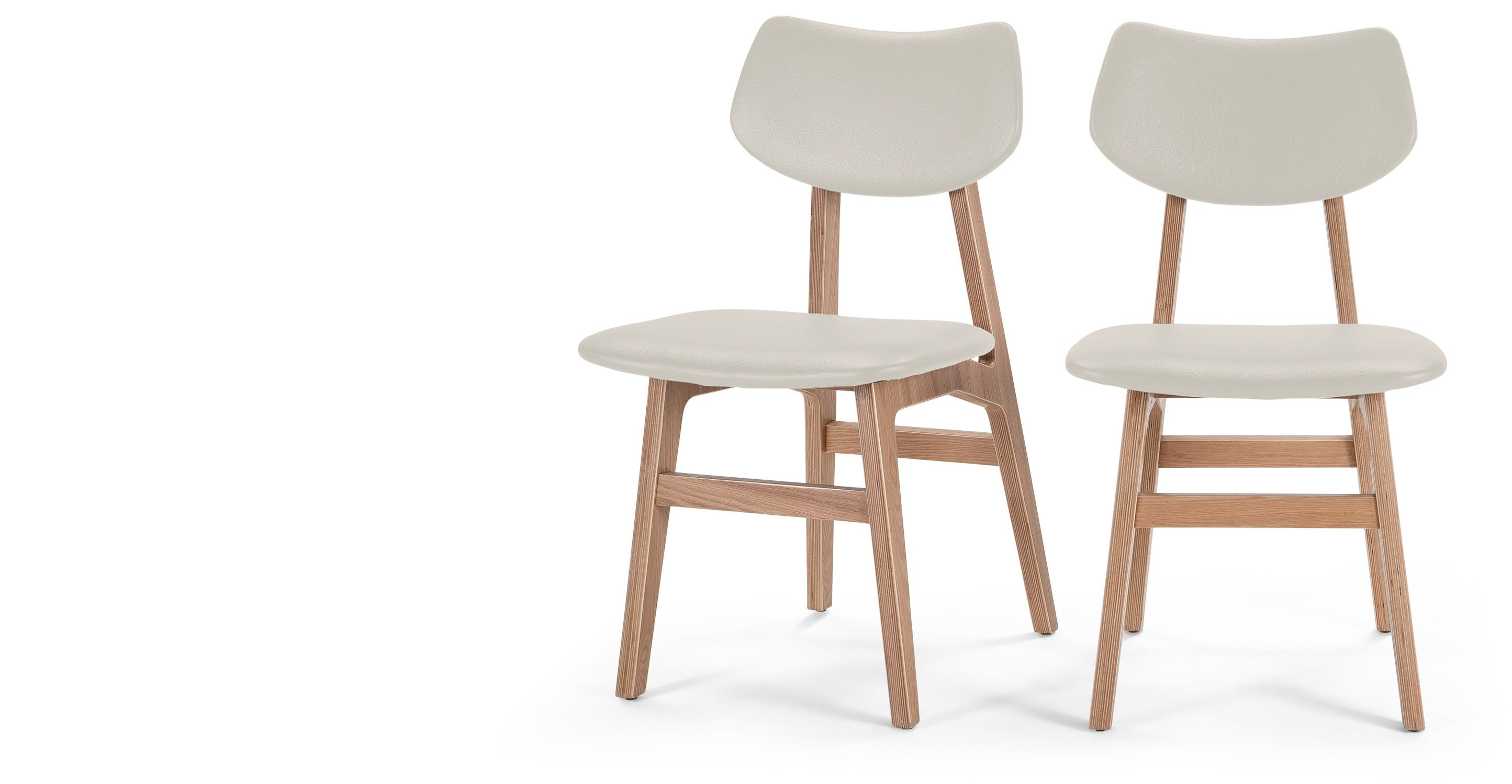 Set of 2 Dining Chairs, Alabaster and Ash Walnut, Jacob | Dining ...