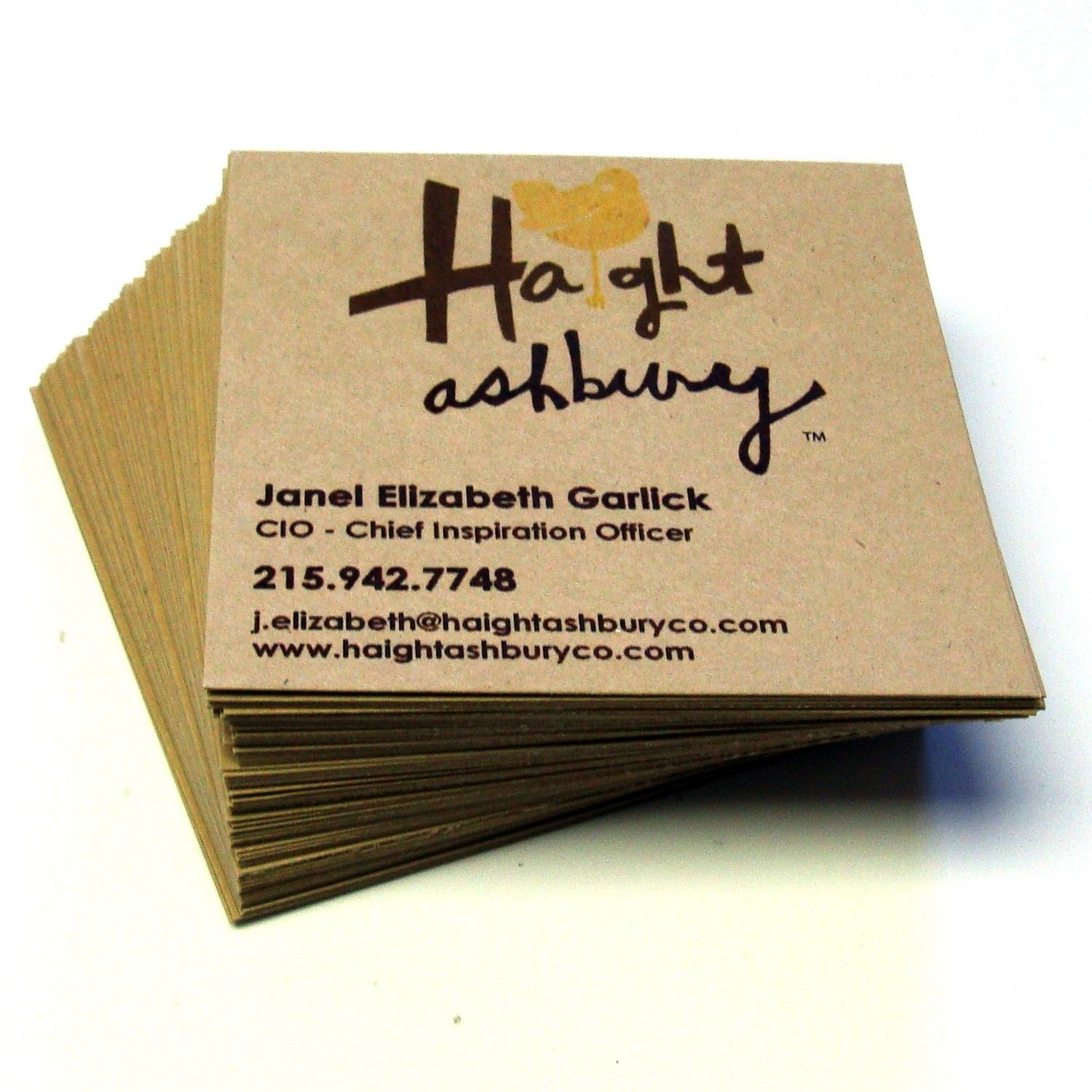 48 Custom SQUARE Recycled KRAFT Business Cards . Design and Printing ...