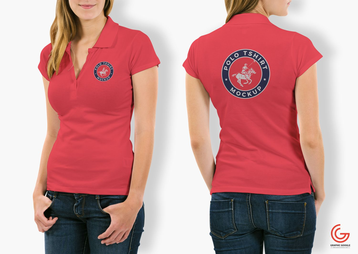 Download Free Woman With Polo T Shirt Mockup Psd Polo Shirt Women T Shirts For Women Polo T Shirts