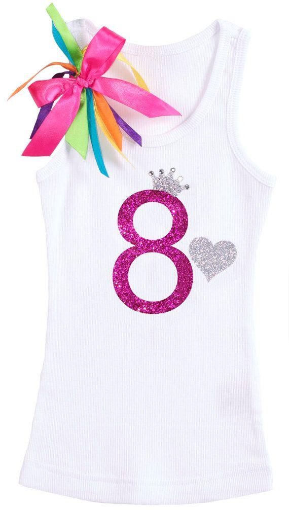 Girls Rainbow 8th Birthday Rhinestone Princess By BubbleGumDivas