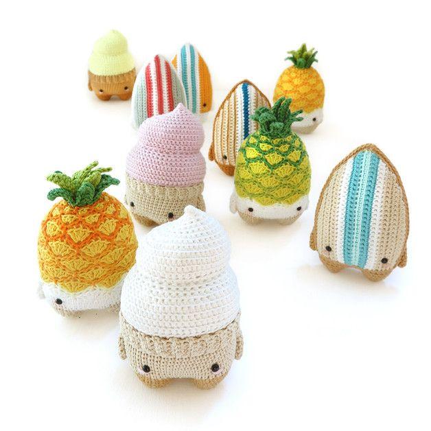 Die Sommer-Häkelanleitungen sind da: Softeis, Ananas und Surfboard ...