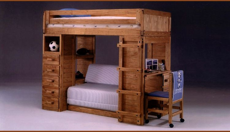 Pine Loft Bed With Foam Loveseat
