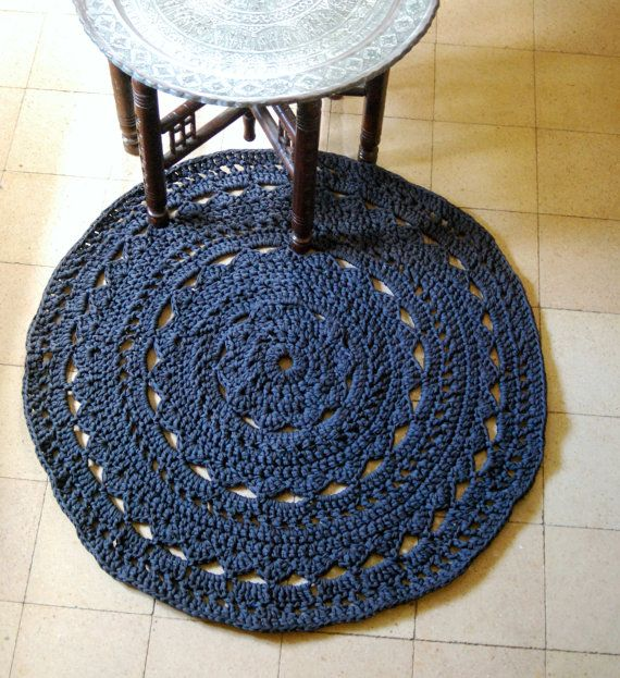 Dark grey round doily crochet rug made from by DeliriumDecor, $150.00