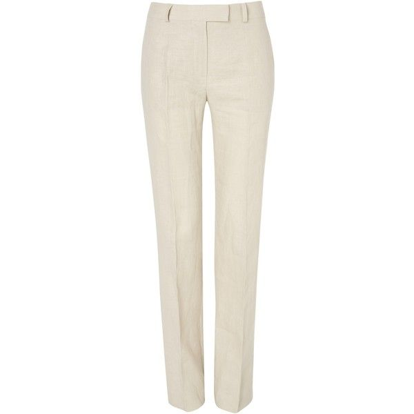 fd61826c10 Jaeger Parallel Leg Linen Trousers ( 78) ❤ liked on Polyvore featuring pants