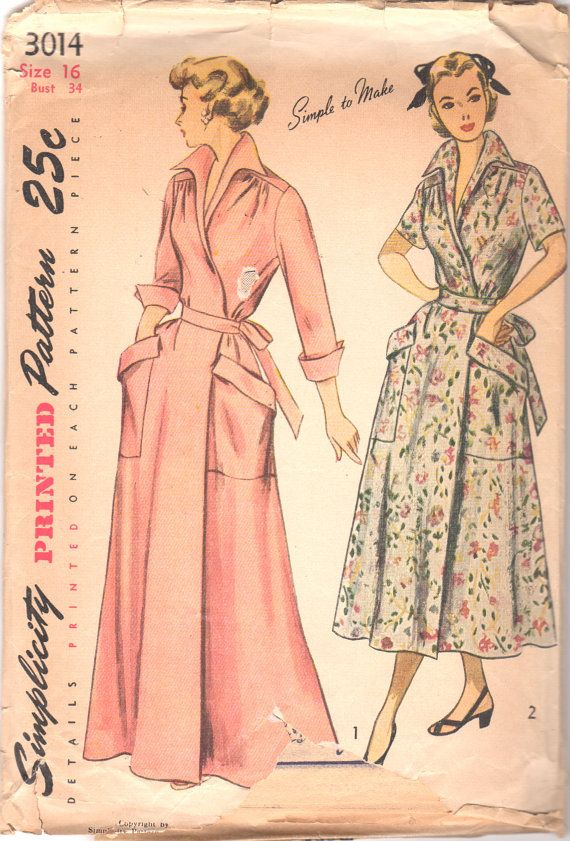 1940s Simplicity 3014 Misses Wrap Around House Dress
