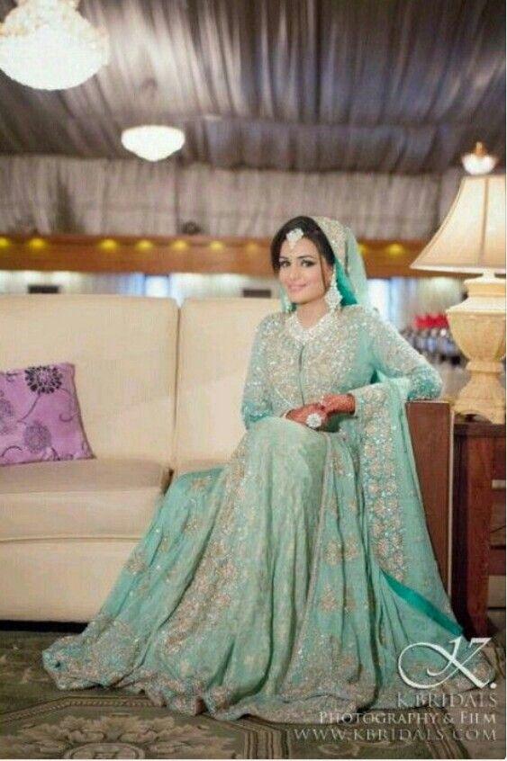 Beautiful Sea Green Walima Outfit Paki Fashion Walima Dress