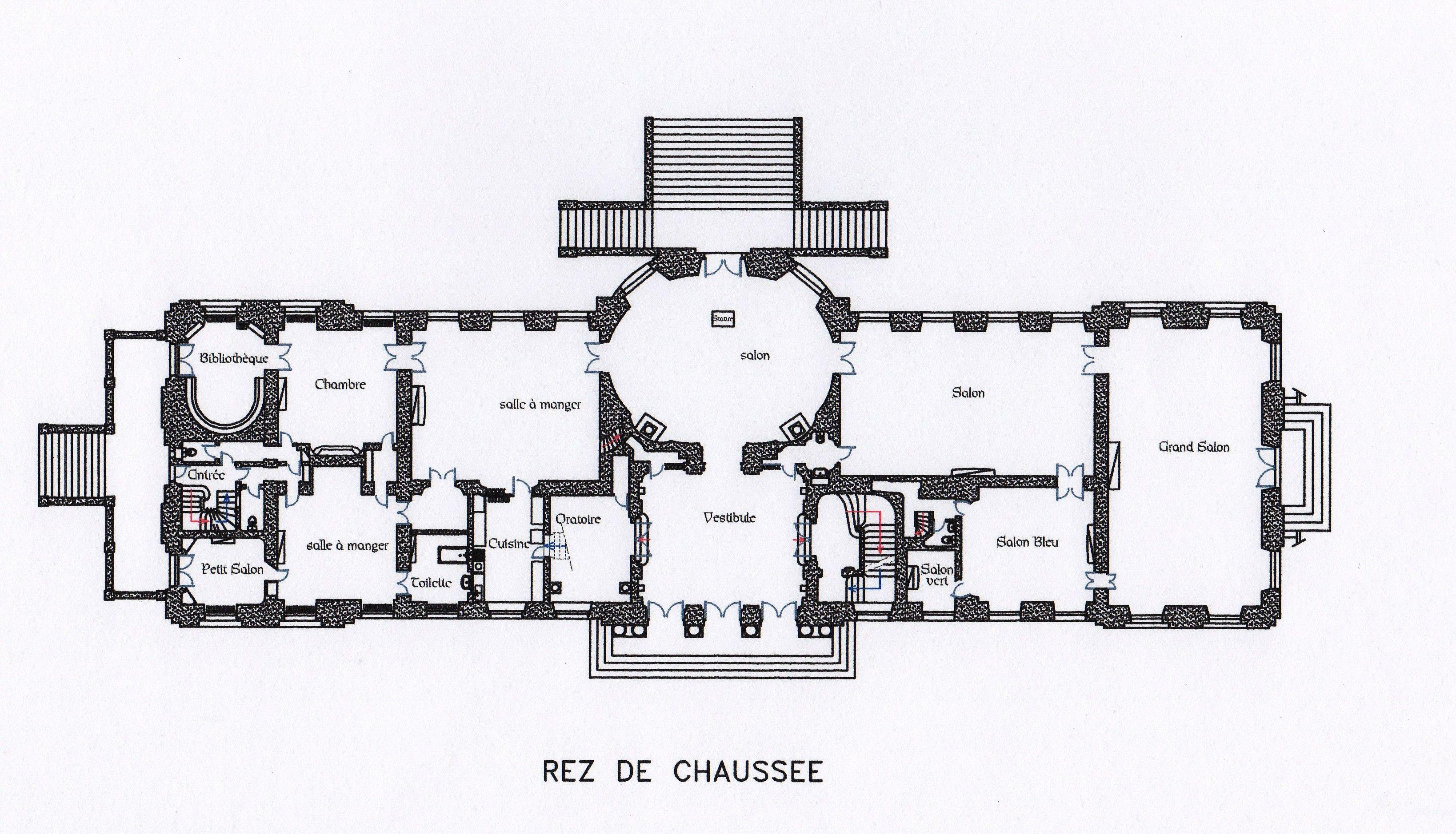 Chateau De Champlatreux Ground Floor Plan Architectural Floor Plans Floor Plans French Architecture