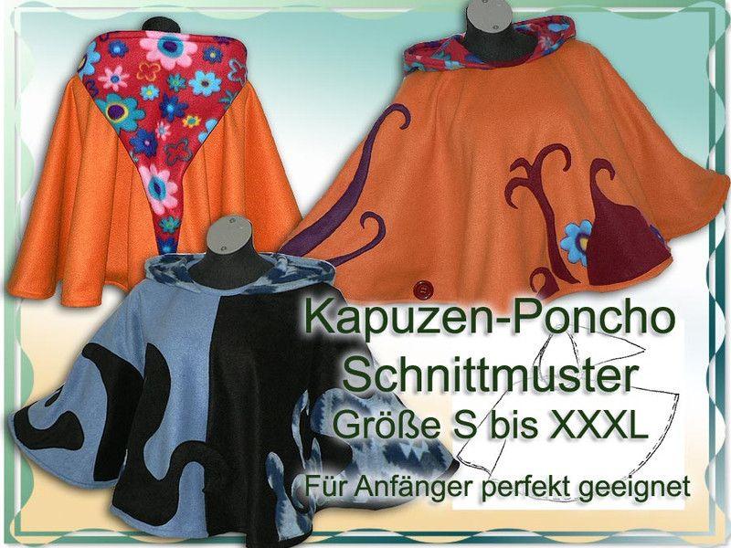 Nähanleitungen Mode - Schnittmuster Poncho mit Zipfelkapuze e-book ...