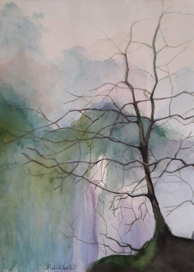 Modern Watercolor Tree Without Leaves Above A Waterfall Copy Of Author Contemporary Wall Art Watercolor Landscape With Tree Tree Decor Arboles Con Acuarela Arte Acuarela
