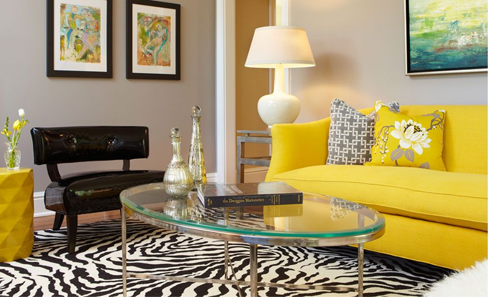 Living Room Yellow Sofa cozy living room with yellow sofa and black-white carpet | zebra