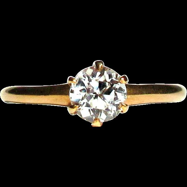 10K Gold Ring, Ostby Barton, 1800's Antique Zircon