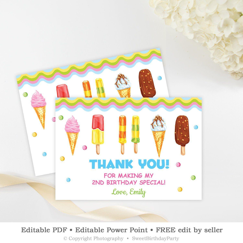Ice Cream Thank You Card Printable, Editable Scoop Birthday Thank
