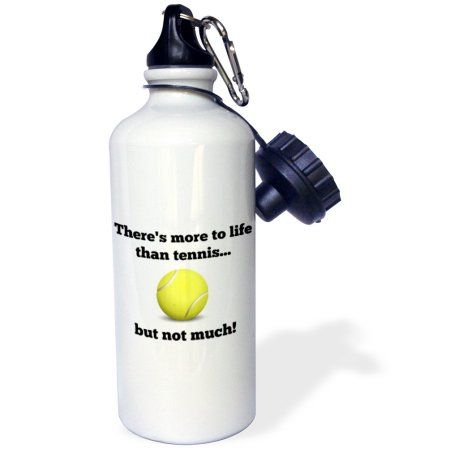 3dRose Theres more to life than tennis but not much, Sports Water Bottle, 21oz, White