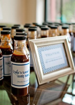 Backyard Blue Gourmet Bbq Baby Shower Sauce Bottles