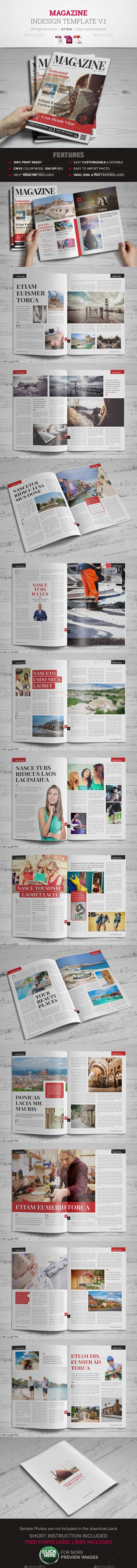 Magazine InDesign Template v1 | Pinterest | Diseño editorial ...