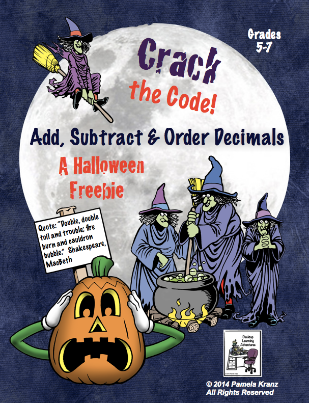 Halloween: Add, Subtract, & Order Decimals- Crack the Code! is a fun ...