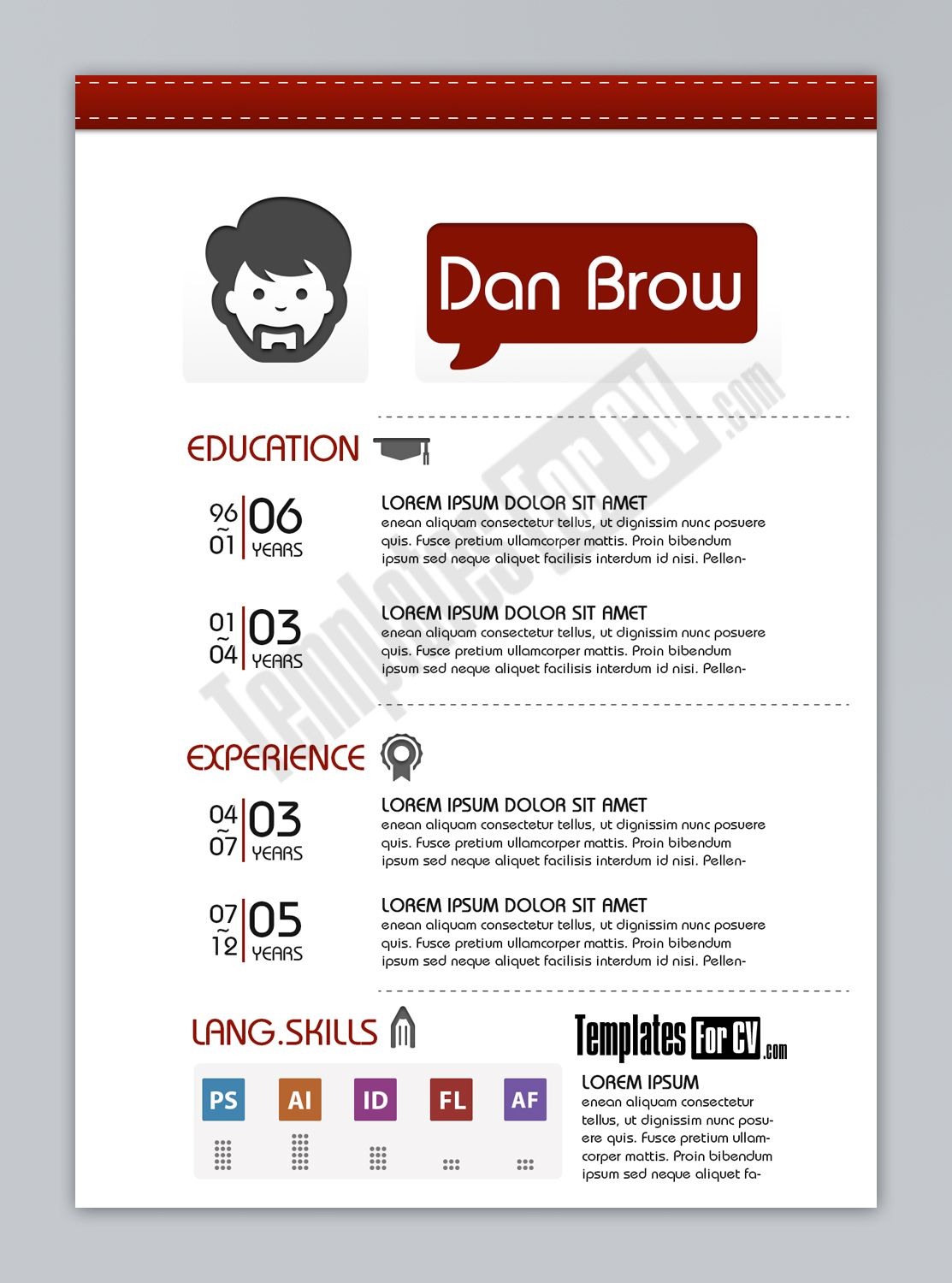 Graphic designer CV Sample Pinterest