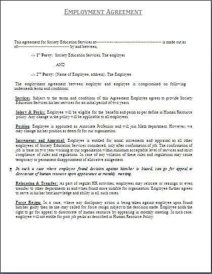 Printable Sample Personal Training Contract Template Form - employment agreement contract