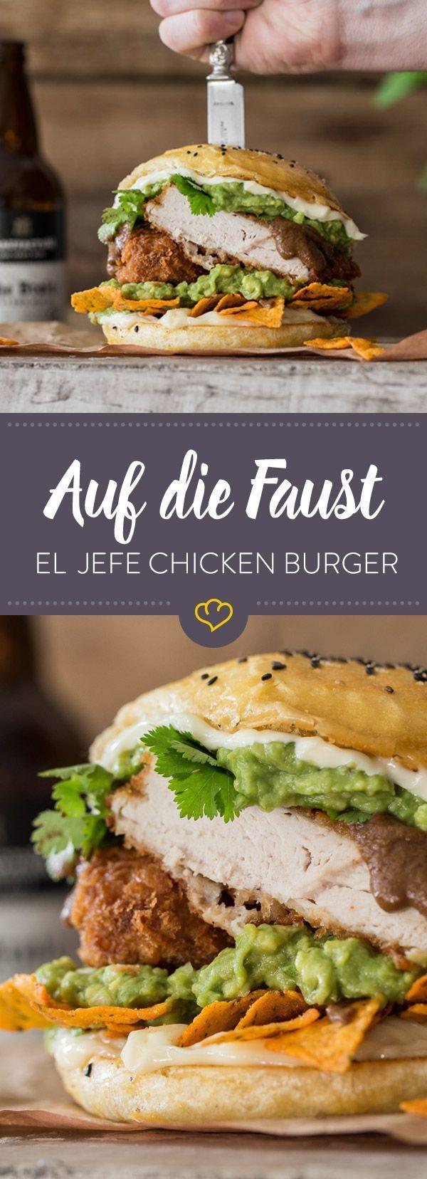 Auf Die Faust El Jefe Chicken Burger Rezept Mexikanische Burger Rezepte Kochrezepte
