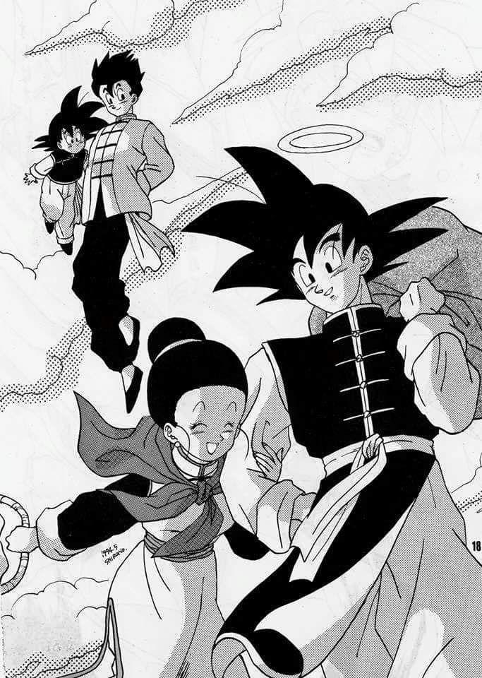 Chichi, Goku, Gohan, and Goten | (○ᴗ○) | Dragon ball, Dragon ball