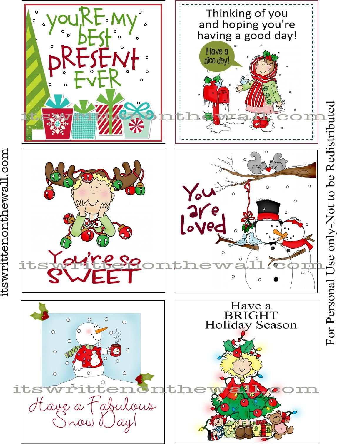 It's Written on the Wall: (Freebie) Our 30 Christmas Lunchbox Notes Here--Get Your Free Set