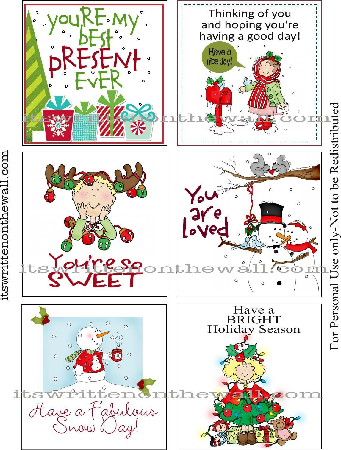 The Polka Dot Posie: Printable Christmas Lunch Box Notes |Christmas Lunch Box Notes