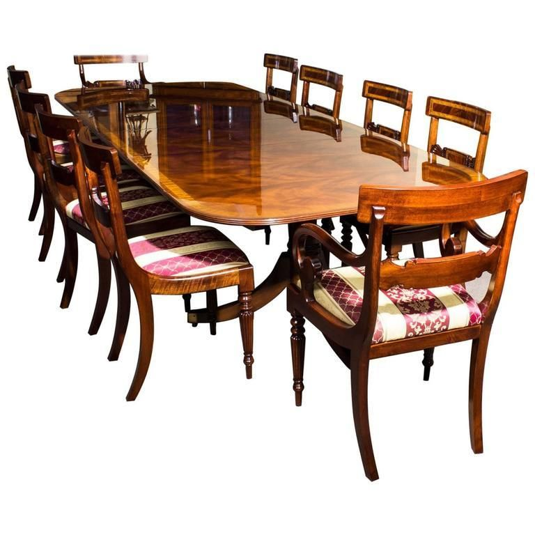 Set Of Ten 1stdibs Dining Room Sets Bespoke Flame Style Dining Chairs Regency Mahogany Dining Table Dining Room Sets Mahogany Dining Table