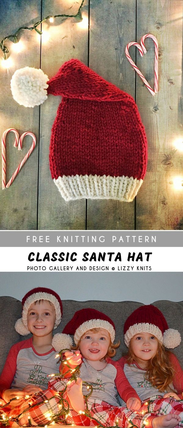 Classic Santa Knitting Hat with Free Pattern #knitting