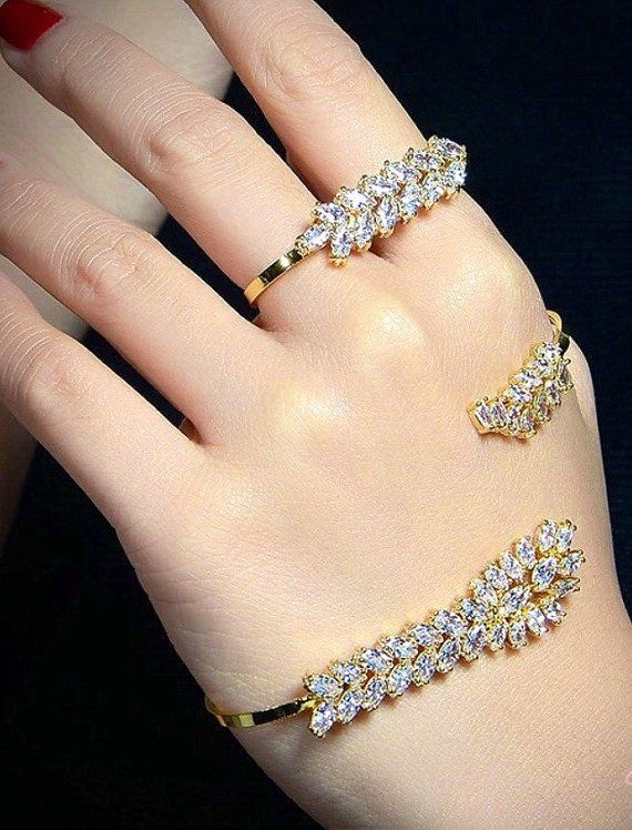 Wedding Gold Hand Piece Panja Bracelet Jewelry Set 4 Finger Palm Ring Formal Occasions Kundan Gift