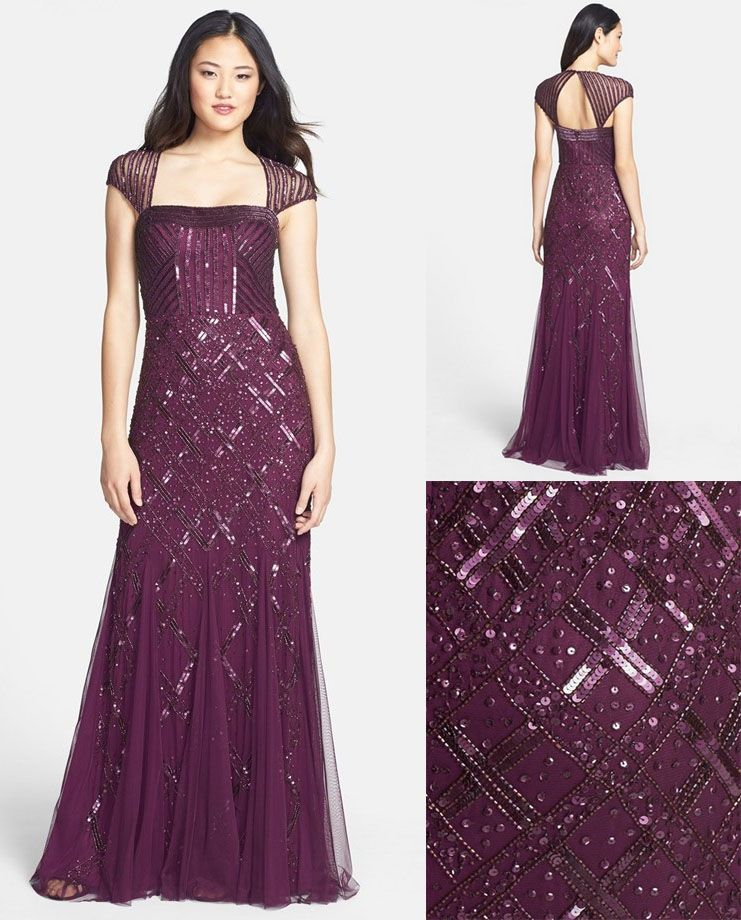 Embellished Mesh Mermaid Gown by Adrianna Papell | EVening Gowns ...
