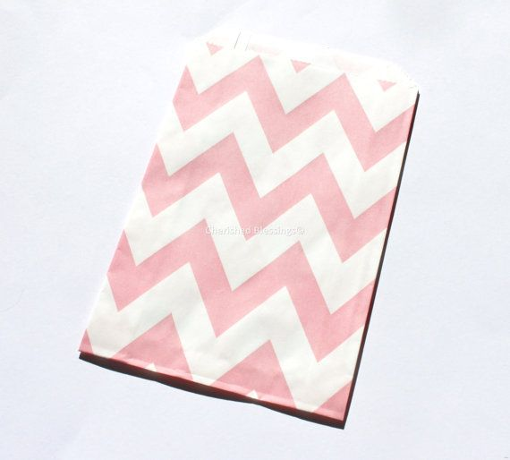 Chevron Bags Favor Bags 20 Pink Wedding by CherishedBlessings, $4.75