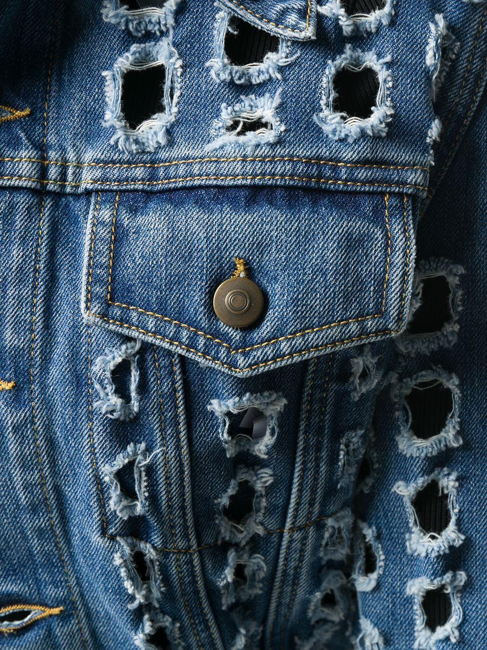 Maison Margiela Punched Hole Denim Jacket Farfetch Denim Jacket Diy Denim Jacket Maison Margiela [ 1334 x 1000 Pixel ]