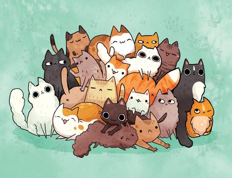 cat pile print 8.5 by 11, wall art, children's room print, kids room, kitten, cat lady print, cute cat print, animal lovers