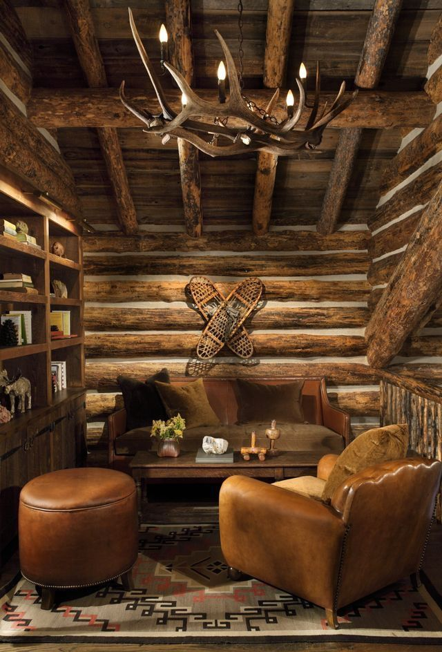 Log cabin study living room Pinterest Log cabins, Cabin and Logs