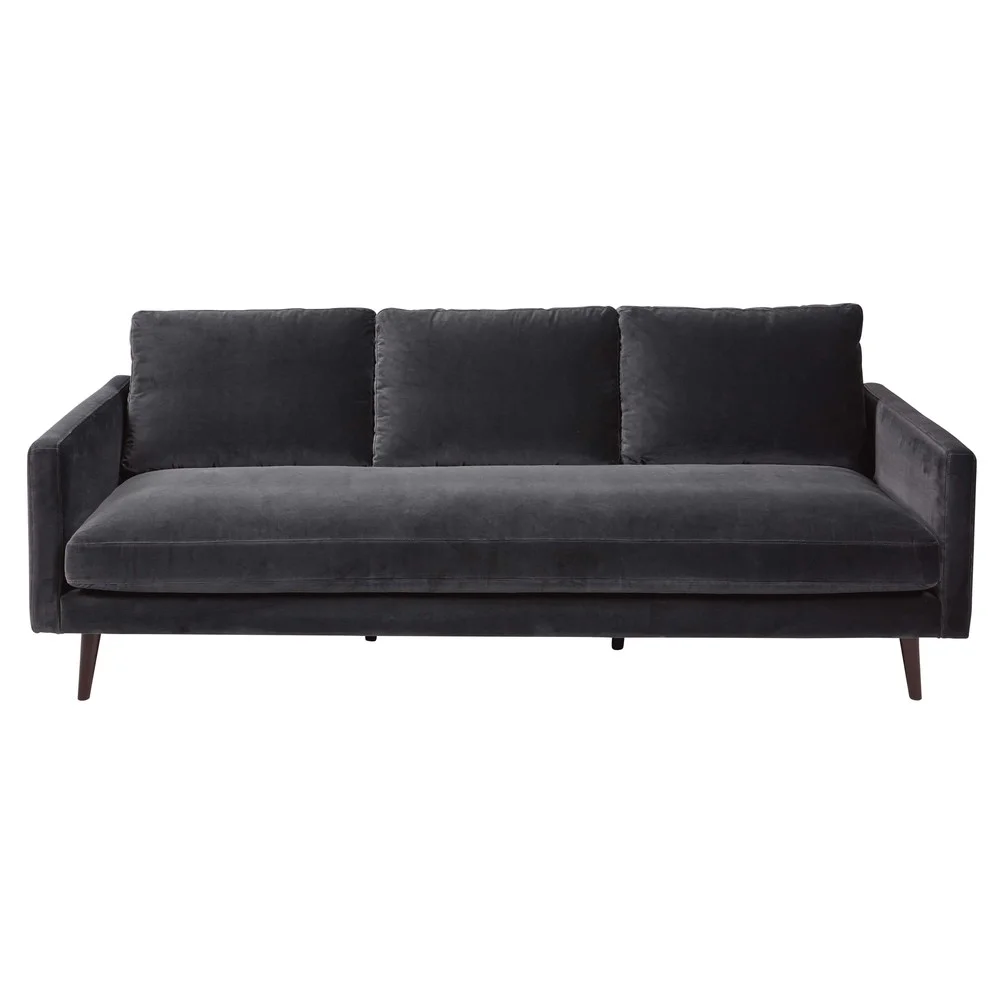 4 Sitzer Sofa Mit Grauem Samtbezug In 2020 Sofa Vintage Sofa Und Samt Sofa
