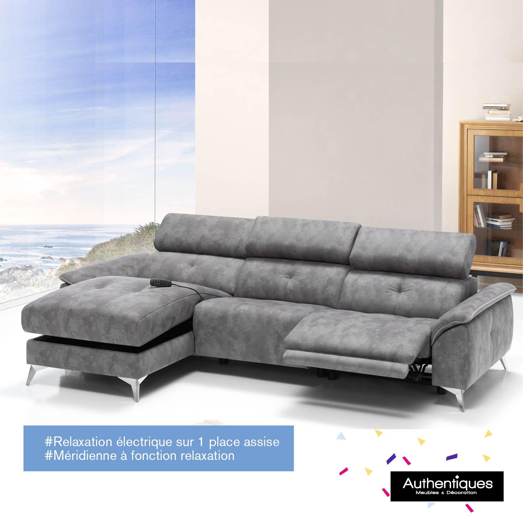 Canapé angle méri nne 1 relax électrique Recouvert tissu 100