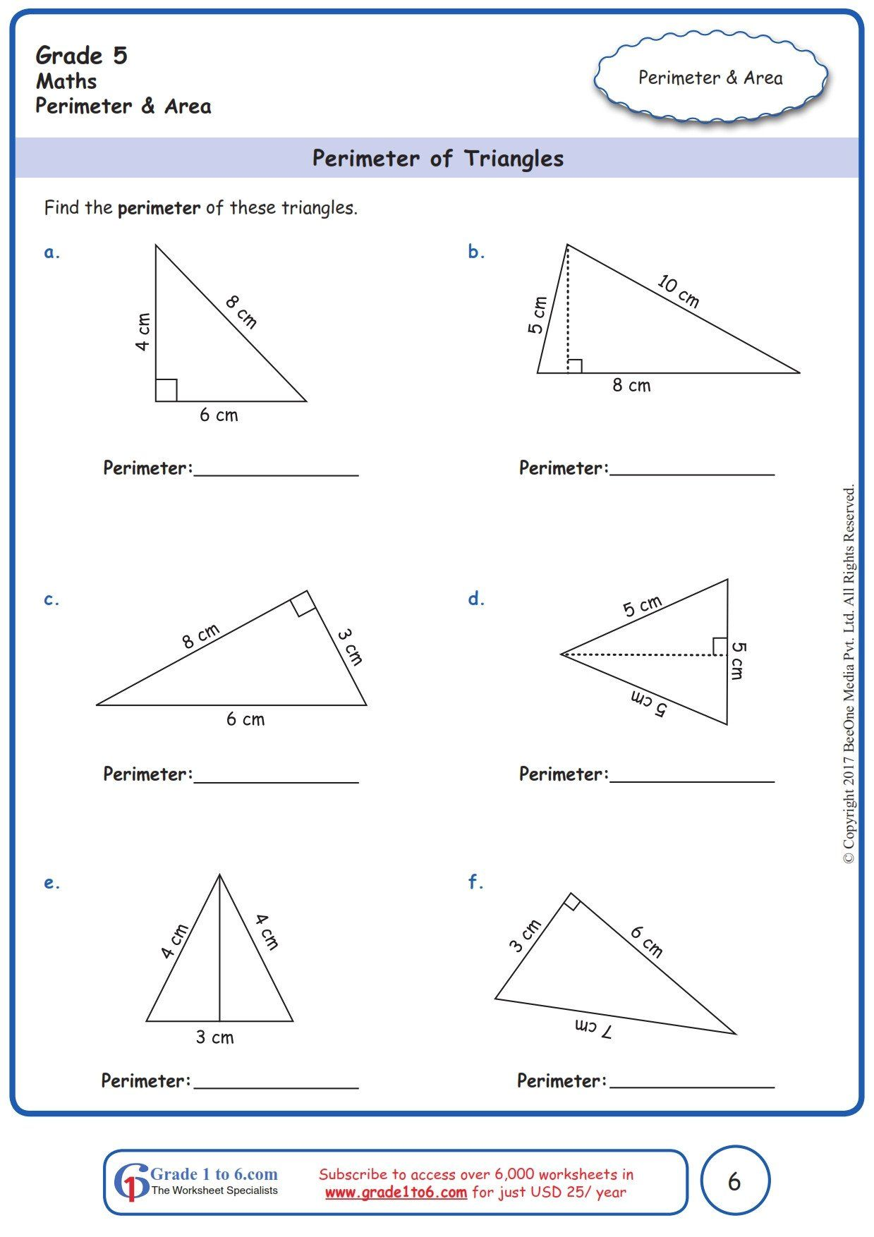 Triangles Worksheets 5th Grade Grade 5 Class 5 Finding Perimeter Of Triangle Worksheets Triangle Worksheet Perimeter Worksheets Free Math Worksheets