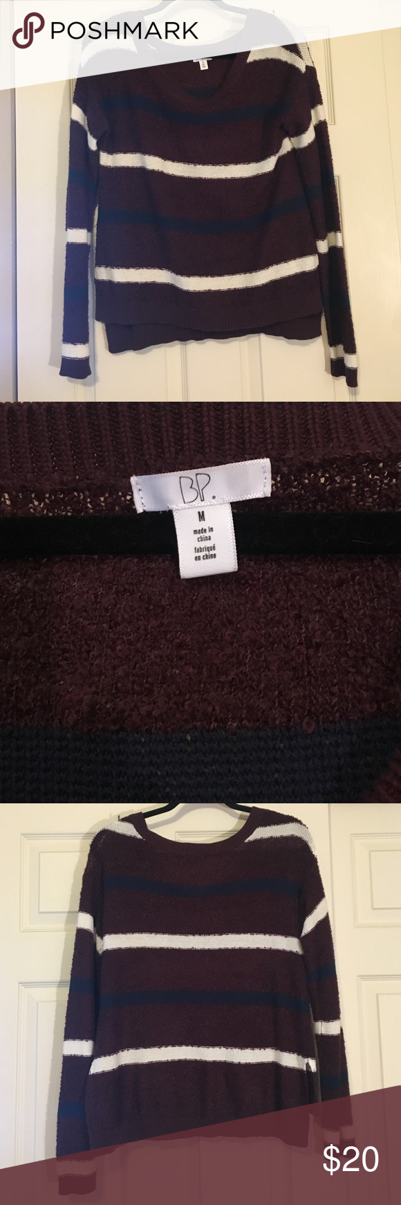 BP striped sweater Maroon, navy, and white sweater. Never worn ...