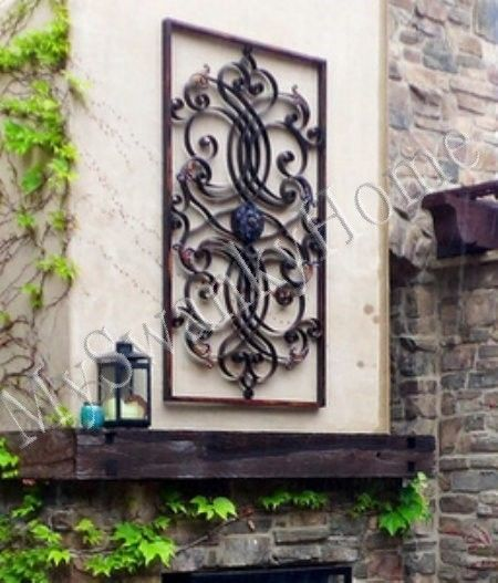 "Outdoor Wall Decor Large extra large 61"" metal wall art iron scroll neiman marcus oversize"