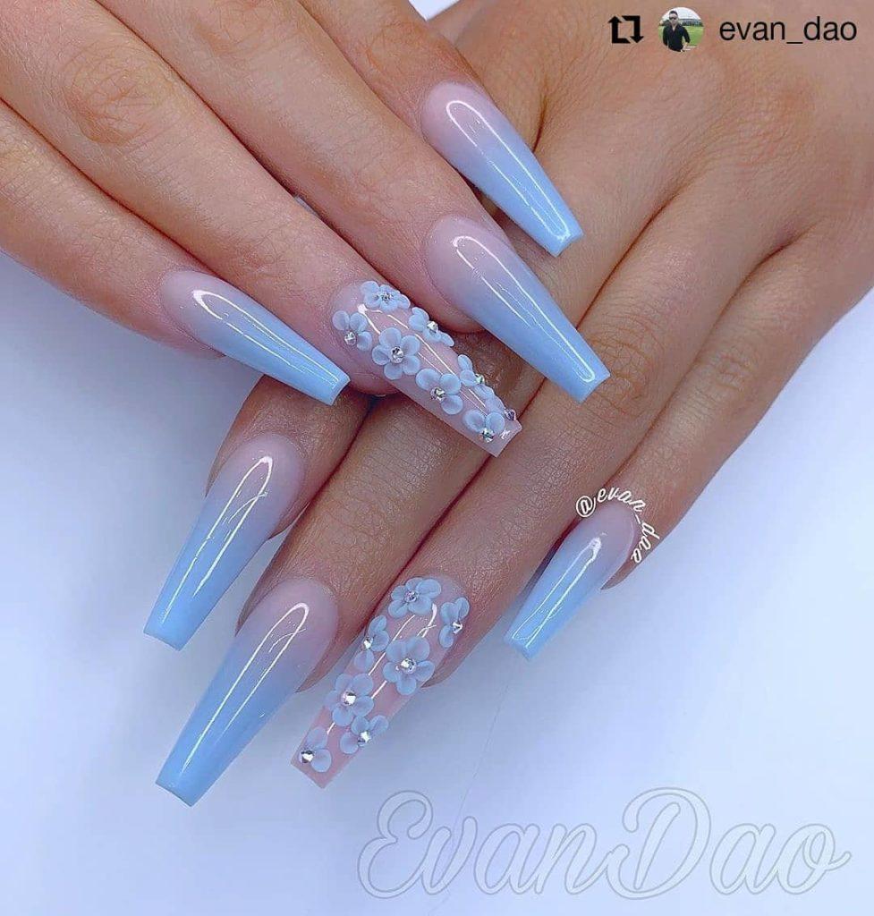 31 Gorgeous Blue Nails Art Desgins In Summer 2019 Blue Acrylic Nails Coffin Nails Designs Acrylic Nails