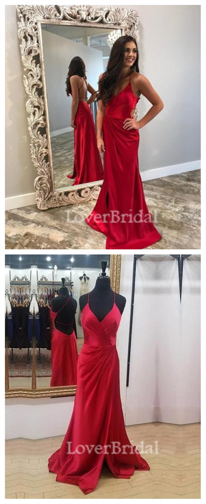 Sexy backless side slit dark red mermaid long custom evening prom