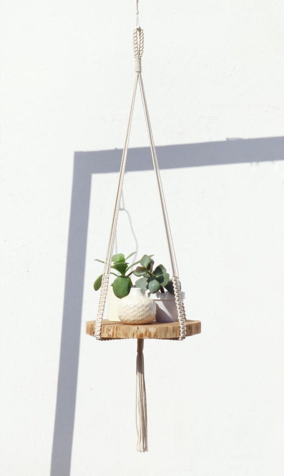 Large Macrame Plant Hanger With Oiled Wooden Base Beautiful Raw Wood Wood Was Hand Grinded And Oiled Macrame Plant Hanger Plant Hanger Macrame Plant Holder