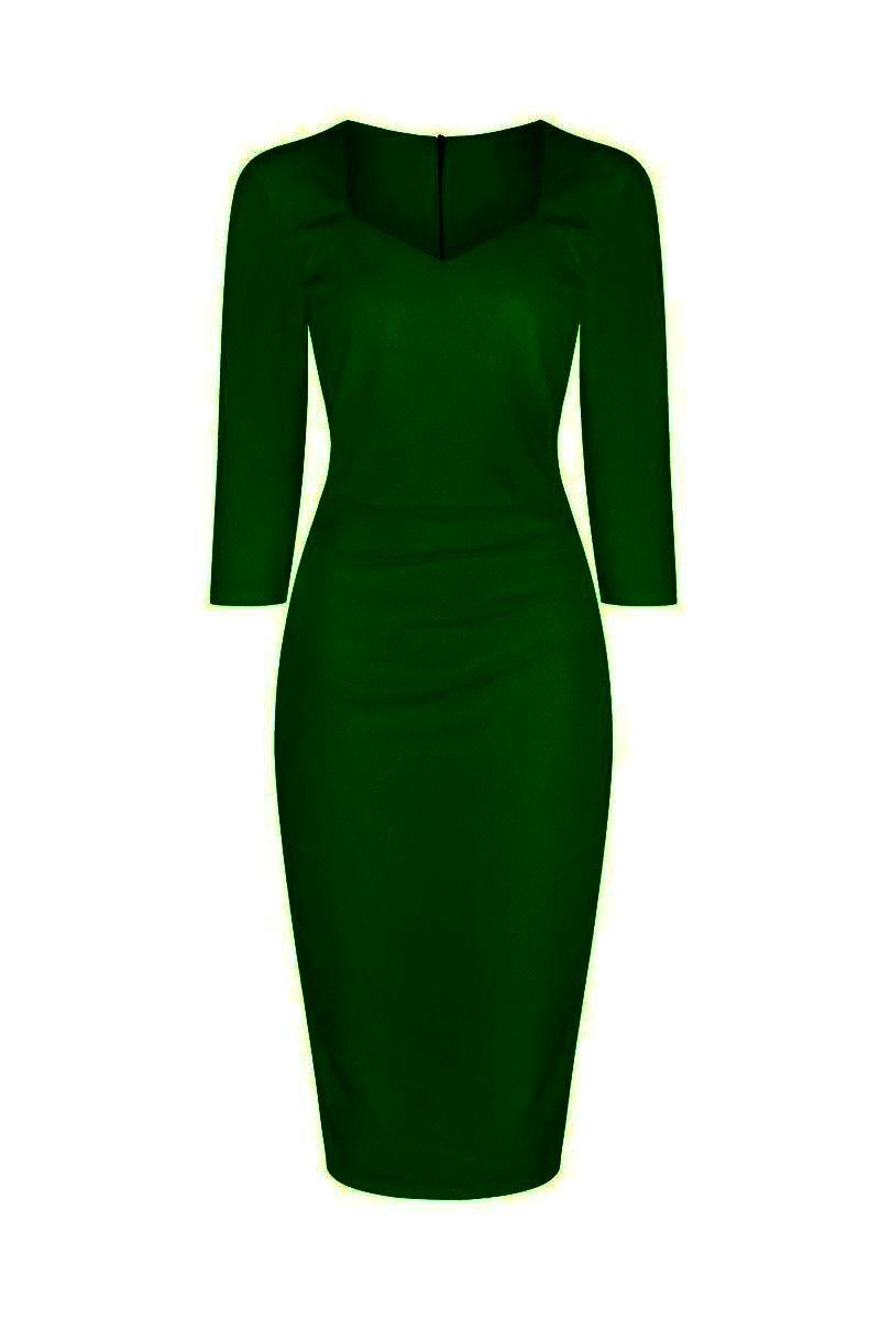 71785606171e6f Emerald Green 3/4 Sleeve Sweetheart Neckline Bodycon Wiggle Pencil Dress