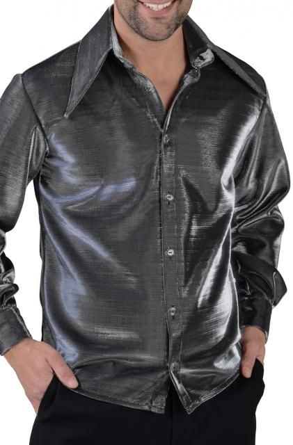 los angeles 89de2 2f599 Camicia uomo nero ferro acciaio lucido dai riflessi ...